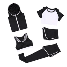 Women Sets 5pcs coats+t shirt+bra+shorts+pants Quick Dry Fitness Gym Clothing Suitable for Running Sports 8036