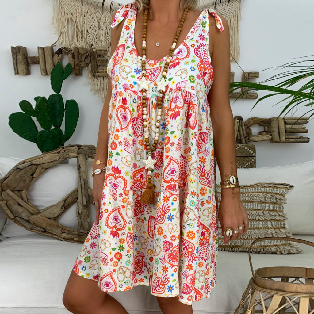 Fashsiualy women's dress Summer vestido O-Neck Sleeveless Sundress Ladies Loose Floral Print Beach Dress Vintage Boho Dress