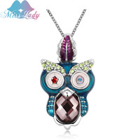 Miss Lady Colorful Crystal Romantic Animal Owl Pendant Necklace Ethnic Hanger Uil Cute Cristal Choker Necklace