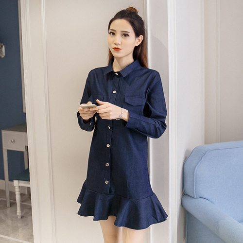 c7642e2ac1b88 Vintage Dress Jeans 2018 Spring Autumn Korean Casual Turn Down Collar Long  SLeeve Ruffles Mermaid Denim Dress Blue S-XXL D407