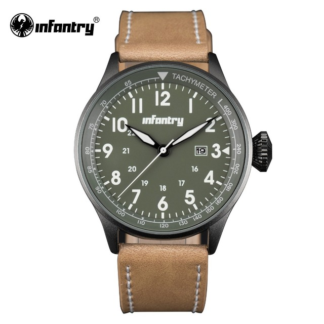 INFANTRY Mens Watches Casual Sports Watches Vintage PU Leather Watches Military Army Green Relojes Time Module Quartz Movement
