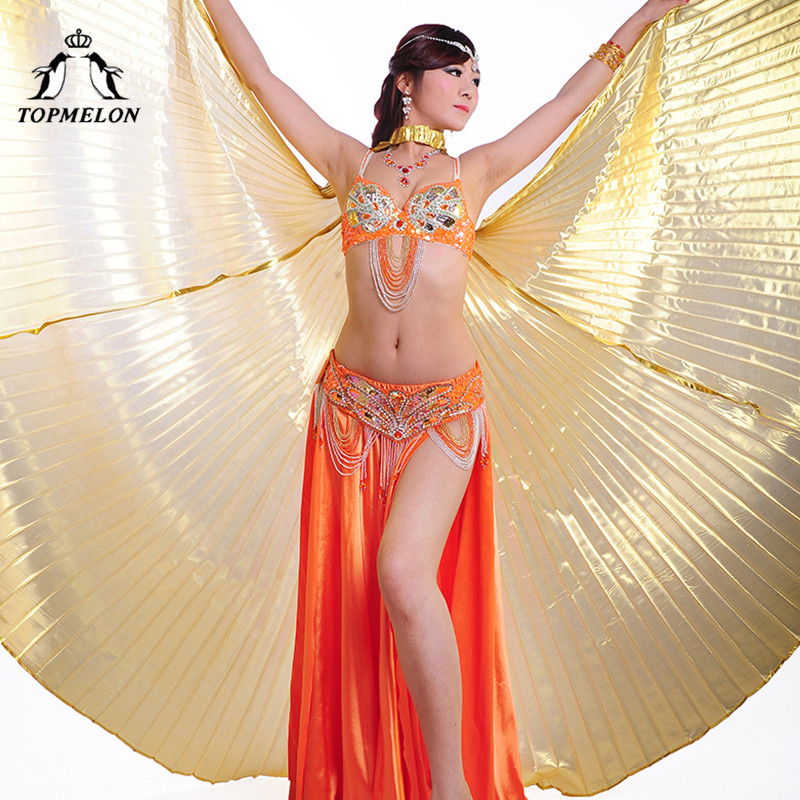 TOPMELON Butterfly Wings for Belly Dance Gold Silver Isis Wings 360 Dancing Costume Women's Dancewear