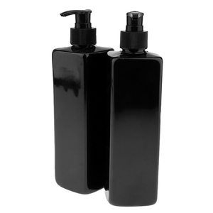 Image 2 - 4pcs 500mL Refillable Empty Bottles For Makeup Lotion Pump Bottles Shampoo Container Dispenser Black