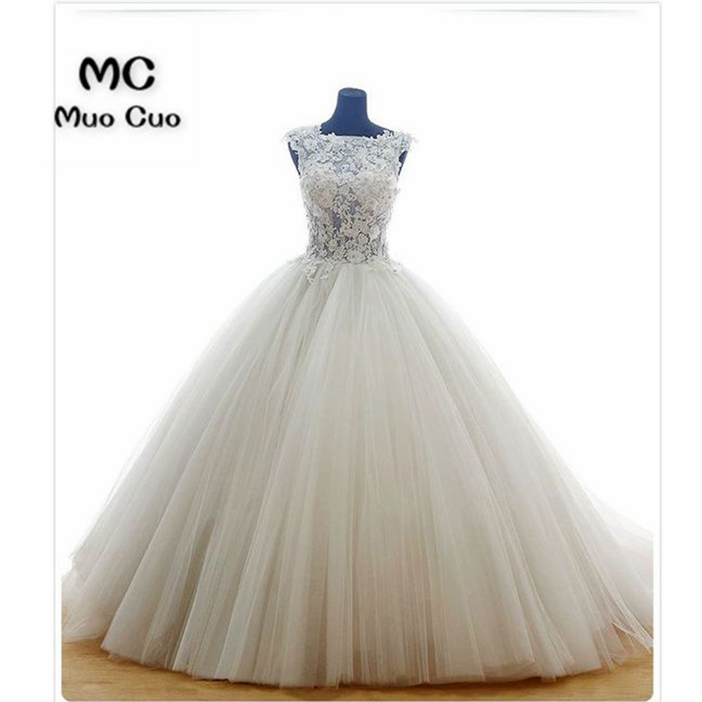 2018 Real Ball Gown Wedding Dresses Sleeveless Robe De Mariage Lace Up Back Tulle Vestido De Noiva Appliques Lace Bridal Gowns