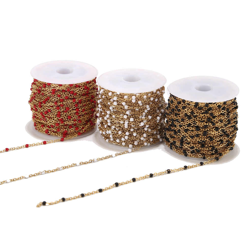 4 Meters Stainless Steel Gold Chains for Jewelry DIY Enamel Oval Ball Beaded Chain for Women Necklace Bracelets Anklet Making