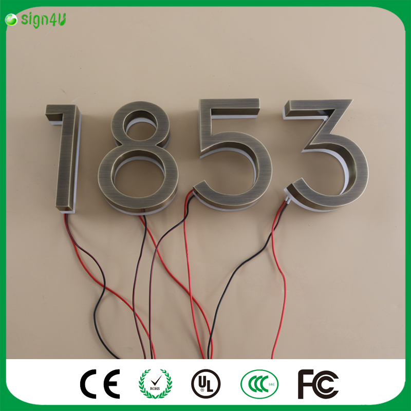 ФОТО Personalize LED stainless steel house number acrylic led letters backlit LED letter signs