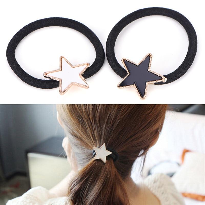 Metal Star Hair Rope Women Elastic Hair Band Girls Headwear Scrunchy Headbands Trendy Alloy Stars Hair Accessories