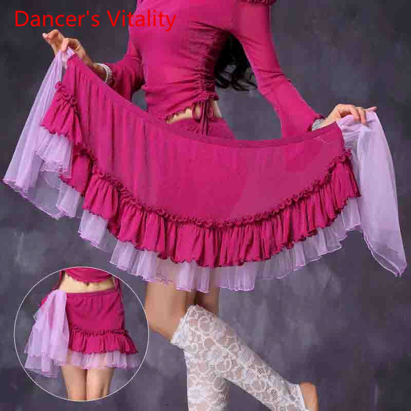 New Arrival Dancing Clothes Girls Silver Mesh Hip Scarf Women Dance Skirt