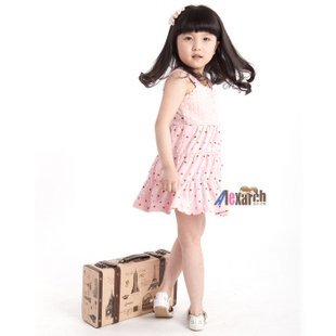 Free shipping!!Factory Direct! HOT SELLING! TOP QUALITY! Children's clothing fashion baby girls short-sleeved lace dress 0626