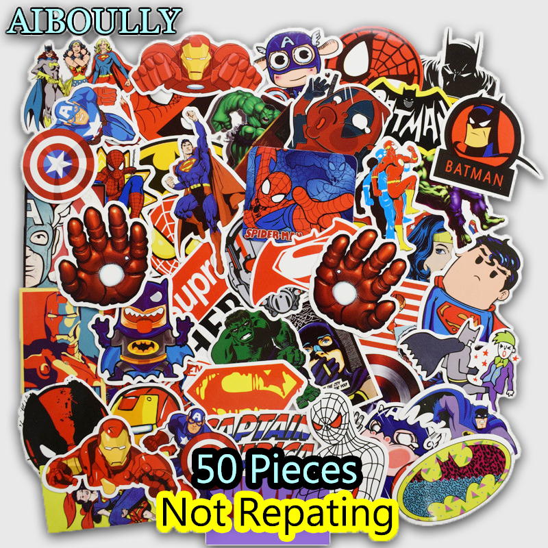 50 PCS Super Hero Cartoon Sticker for Laptop Luggage Bags Bike Phone Car Styling Cool Stickers Toys Doodle PVC Creative Decals vintage lady beauty luggage skateboard stickers pvc waterproof sunscreen car stickers 5 12cm laptop stickers