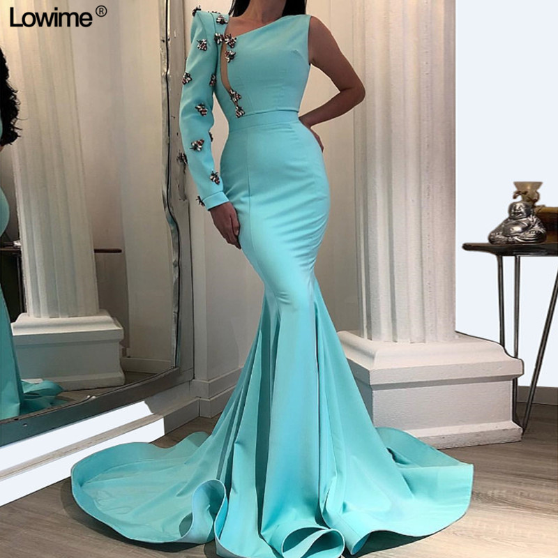 Mint Green Long Sexy Celebrity Dresses 2019 With One Sleeve Dubai Style Evening Gowns Free Shipping Prom Gowns Vestido De Festa