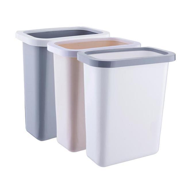 Creative Kitchen Hanging Trash Cans Cabinet Door Hanging Plastic Waste Bins Bathroom Dustbin Pressure Ring Paper Basket