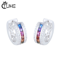 Rainbow CZ Crystal Circle Round Stud Earrings for Women Sterling Silver Jewelry 100% 925 Sterling Silver Dazzling Earrings Gift