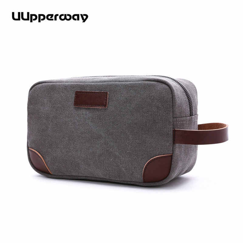 Men Canvas Bags Mini Coin Purse Casual Shopping Clutch Leather Hand Holder Bags Vintage Small Wallet Phone Pockets Waist Handbag