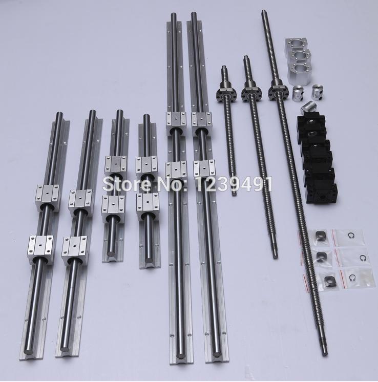 6 sets linear guide rail SBR20 - 400/1000/1500mm + ballscrew SFU1605- 400/1000/1500mm + BK/BF12 + Nut housing Coupler CNC parts цена