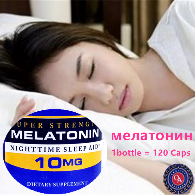 Super Strength Melatonin 10 Mg 120 Caps Night Time Sleep Aid Free Shipping