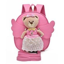 RUNNINGTIGER Cute Angel Bear Anti-lost Children School Bags For Girls Baby Toddler Girl School Backpack Kindergarten Kids Bag
