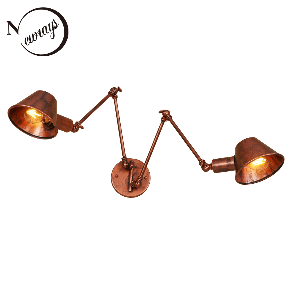 Vintage iron painted metal shade wall lamp LED E27 220V wall light with lampshade for living room bedroom restaurant hotel cafe bjornled america wall sconce copper wall lamp 2 arm fabric shade light living room restaurant cafe bedroom hotel e14 led lamp
