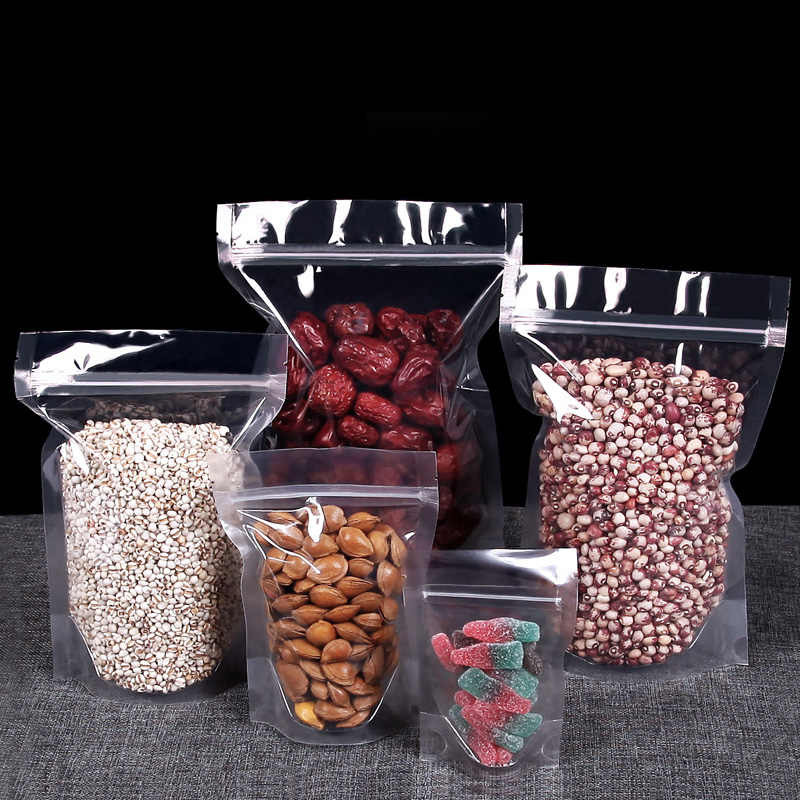 CLEAR//TRANSPARENT-FRONT STAND UP POUCHES HEAT SEAL FOOD GRADE ZIP LOCK RESEALABL