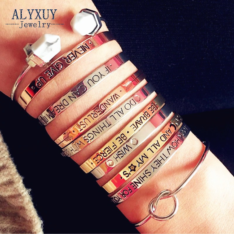 ALYXUY Beautiful Lovers Bracelets Woman Iron Letter Brave Wish Mix Design Cuff Bangles Gold Silver Girl Jewelry Gifts B3401