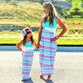 Kiqoo Más Tamaño Verano Vestido Triángulo de Impresión Coincidencia de Mirada de la Familia de Madre E Hija Madre E Hija Vestido Ropa mama e hija