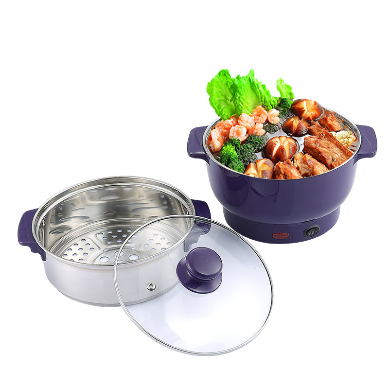 800W Convenient Electric Cooking Pot High Effiency Electric Cooker Portable Fast Heating Hot Pot Steam Layer 1 2l mini portable rice cooker auto multifunction cooking pot heating soup porridge steamer student noodles cooking machine