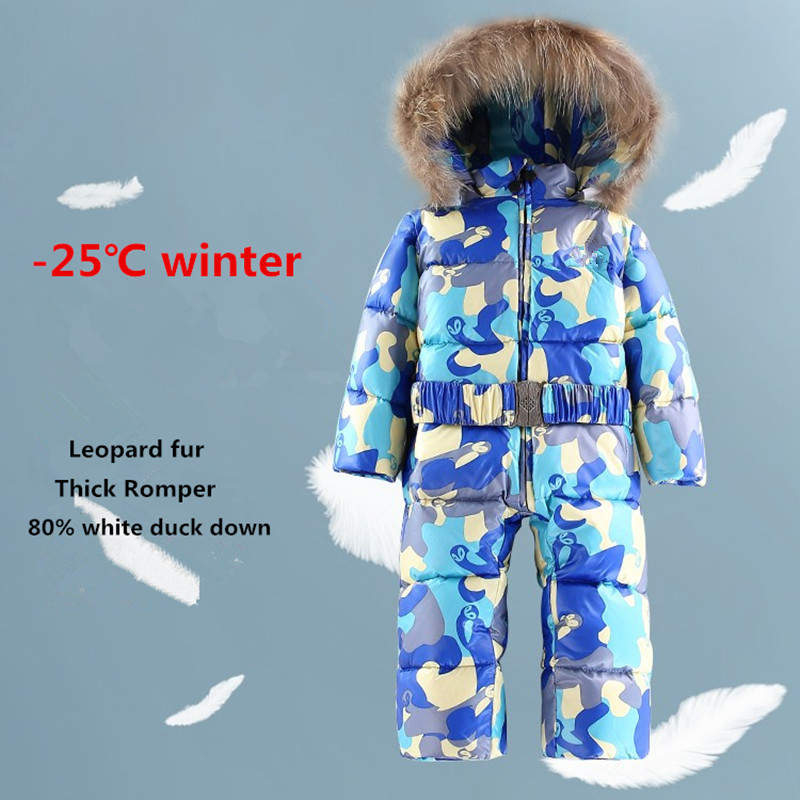 Winter Baby Clothes Boys Duck Down Rompers Fur Coat Infant Christmas Jumpsuit Hats Toddler Snowsuit Kids Onesie Mono Overalls winter baby snowsuit baby boys girls rompers infant jumpsuit toddler hooded clothes thicken down coat outwear coverall snow wear
