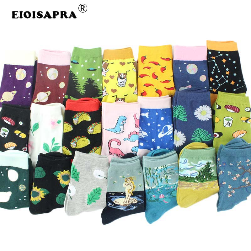 Happy   Socks   Women Harajuku Funny Cute   Socks   Cartoon Dog Dinosaur Chili Sushi Leaves Ankle Novelty   Socks   Christmas Gift Sox