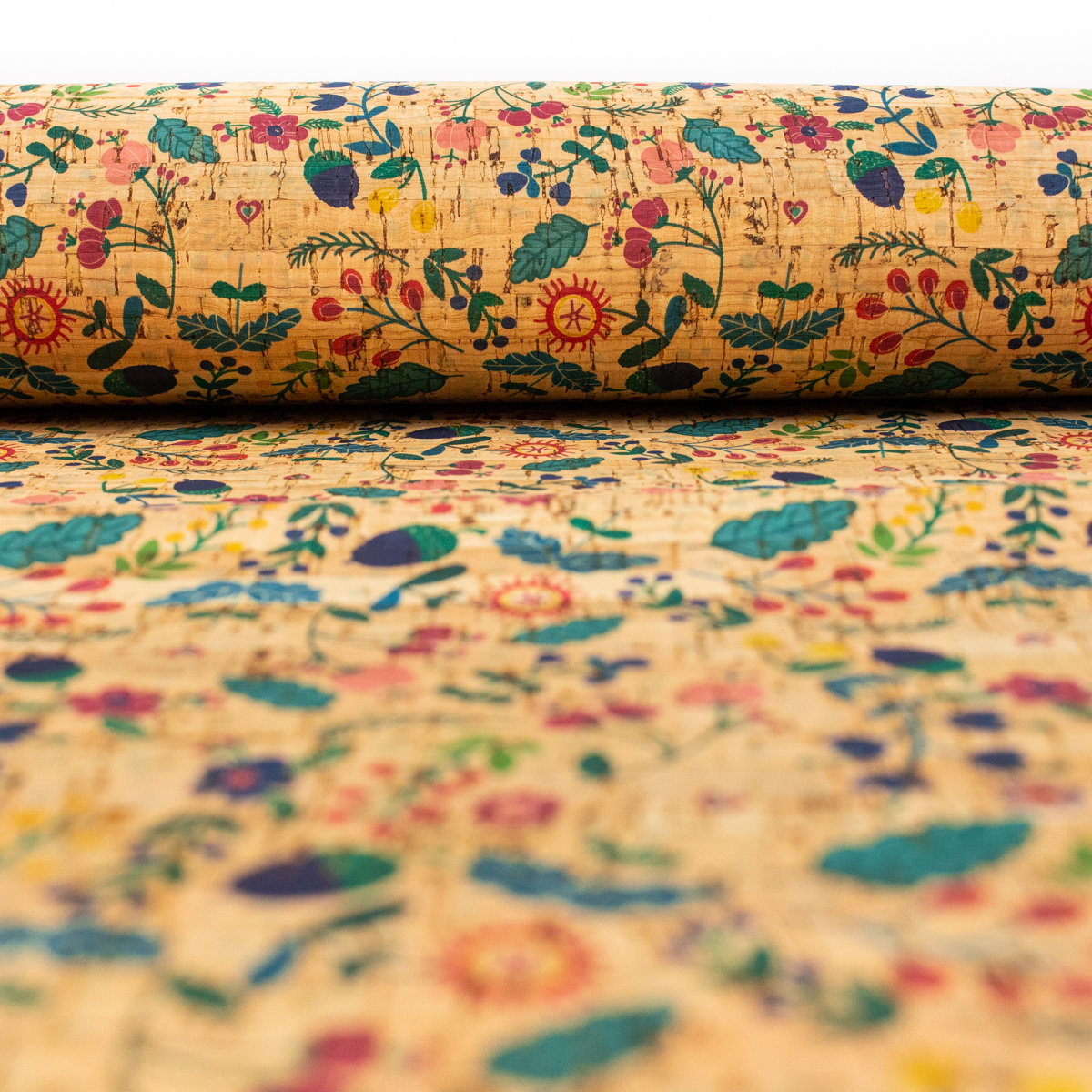 From Portugal Natural Cork Fabric Cork Textile Patterned With Colourful Flowers,  COF-200
