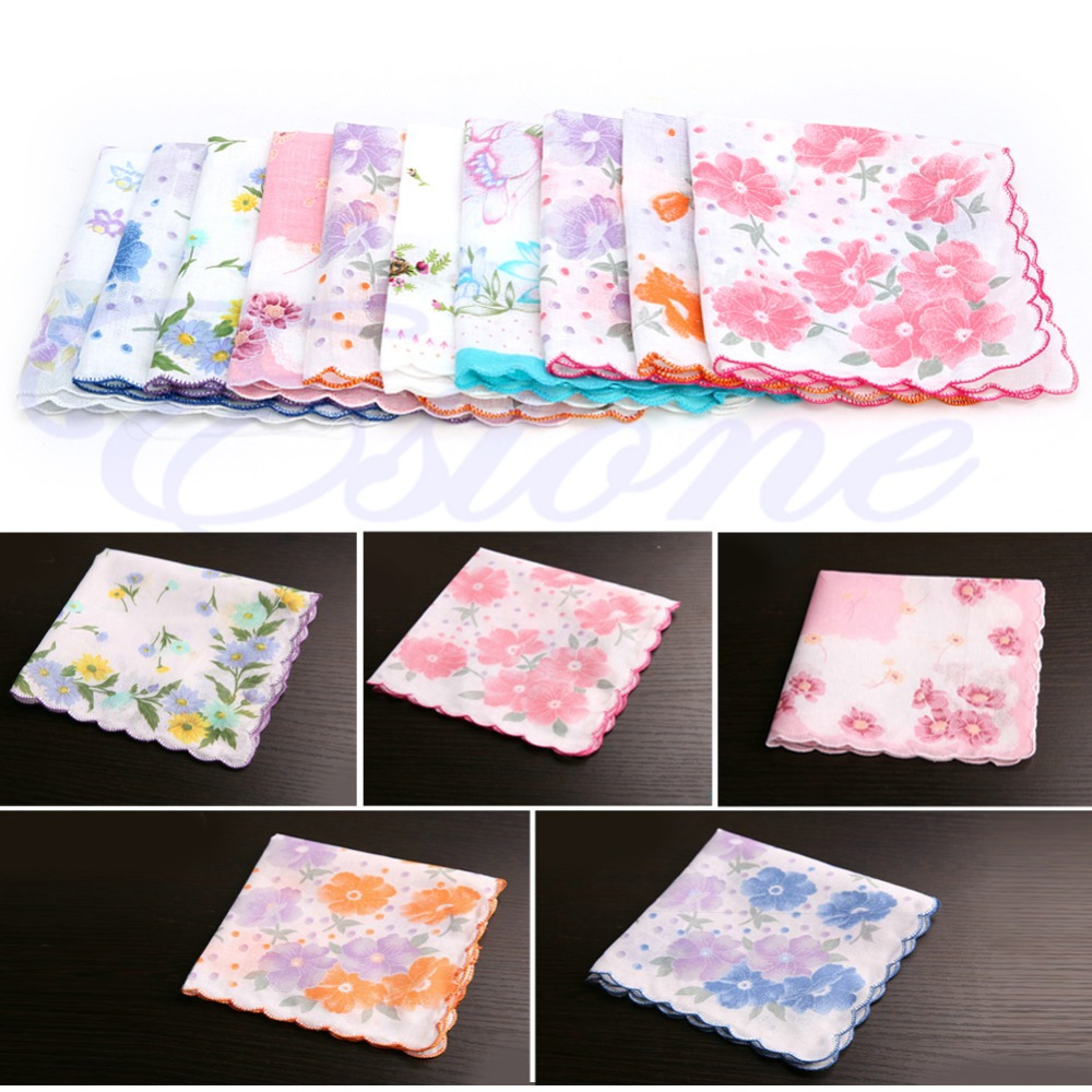 10Pcs/Set Ladies Vintage Cotton Hanky Floral Handkerchief Hot New Crescent - Side Cotton Handkerchief Random Pattern Color