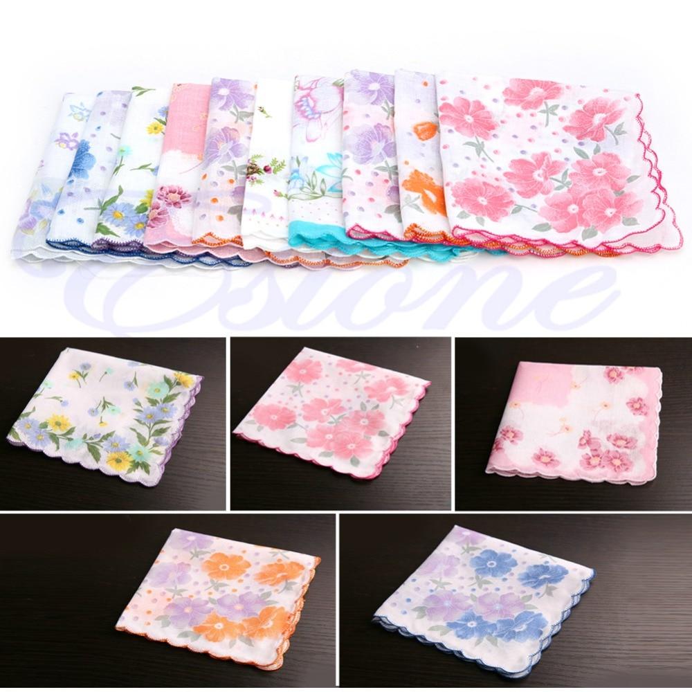10Pcs/Set Ladies Vintage Cotton Hanky Floral Handkerchief Hot New Crescent - Side Cotton Handkerchief Random Pattern Color