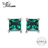 Square 0 6ct Green Nano Russian Emerald Earrings Stud Solid 925 Sterling Silver Women Classic Fashion