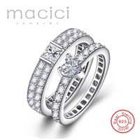 1 Piece Price Forever Love Wedding Rings Pair Couple Ring Set Crystal Rings Sterling Silver 925