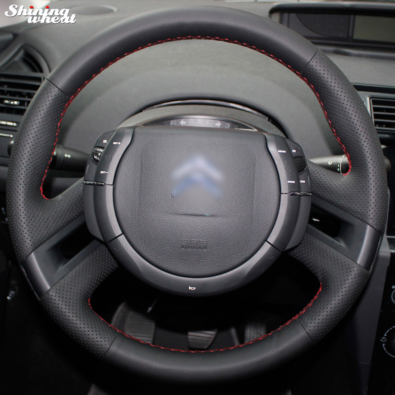 Shining wheat Hand stitched Black Leather Steering Wheel Cover for Citroen C4 Picasso 2012 2014 C