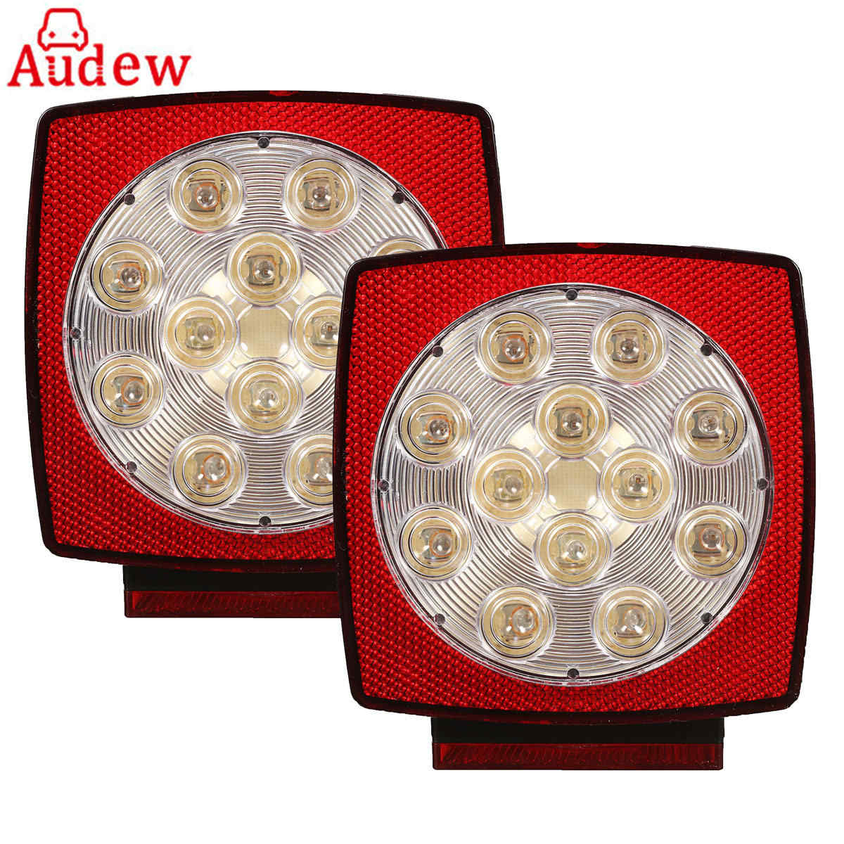 2Pcs LED Truck Car Rear Tail Stop Lihgt Lamp With License Plate Light  For Vehicle Boat Red & White vehemo brake stop light lamp led license plate rear lamp tail round motorcycle red