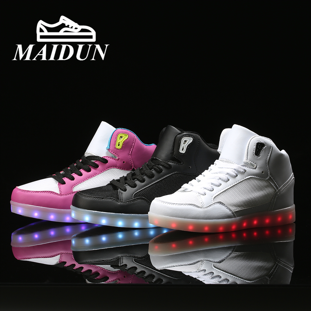 APP control LED High Top Shoes women Light Up casual tenis led neon basket Led Shoes neon Couple led Flash Hot Fashion 2016 women shoes with colorful glowing lights up bright shoes led a new simulation sole shoes led to neon basket adults took