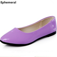 Female Candy Colors Flats For Wide Foot Super Plus Size 3-17 American and European Style Summer Pointy Slip-On Purple Blue Red