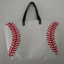 new baseball bag soccer baseball white stitching bags baseball women Cotton Canvas Sports Bags Baseball Softball Tote Bag