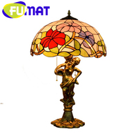 FUMAT Tiffany European Barock Style Table Lamps Stained Glass Desk Lamp Alloy Trumpet Flower Goddess LED Luxury Table Lights