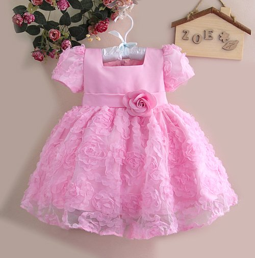 baby girl chiffon flower party dresses girls dark pink