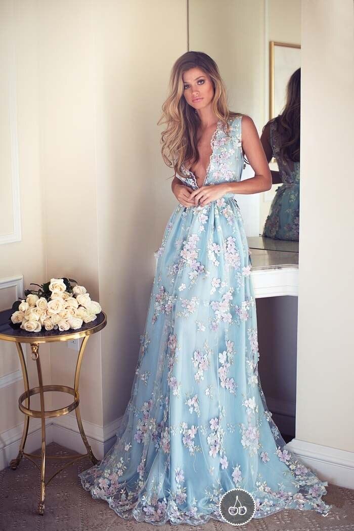 Light Blue Appliques Beach Wedding Dresses