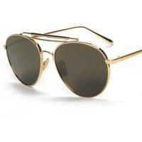 Cubojue Aviation Sunglasses Men Women Gold Brand Flat Mirrored Sunglass Frog Anti Reflective Female Luxury Fashion Star Style
