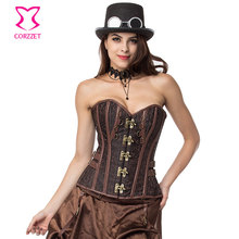 Brown Vintage Gothic Corset Overbust Steampunk Espartilhos E Bustiers Corselete Korsett For Women Sexy Burlesque Costumes 3XL