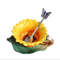 New arrival Sunflower cup ceramic cup creative teacup set coffee cups herb tea set lovely cup saucer and spoon combination
