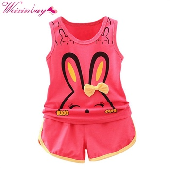 Baby Boys Girls Clothes Set Cute Rabbit Character Sleeveless Tops + Colorful Summer Cotton Shorts Outfits conjuntos casuales para niñas