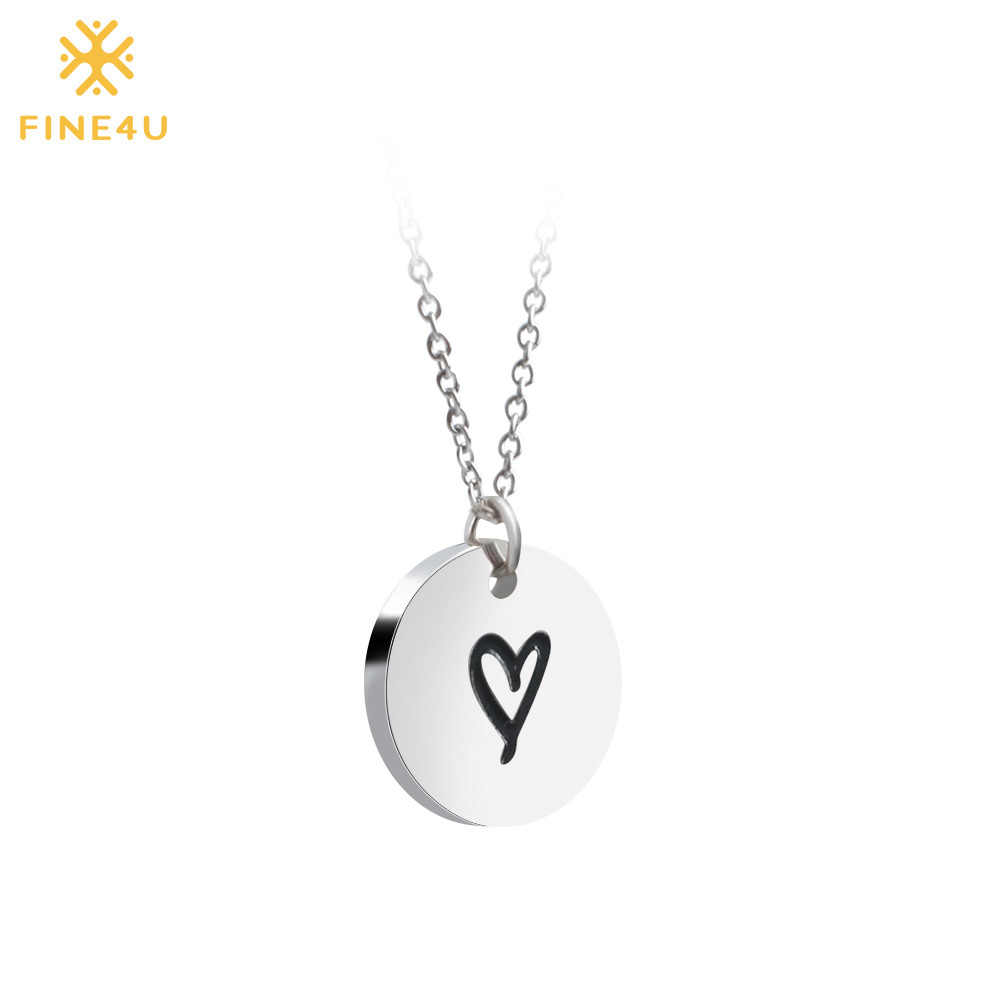 2018 New FINE4U N036 Disc/Tree/Footprint Pendant Necklace For Women 316L Stainless Steel Chain Necklaces Statement Jewelry Gifts