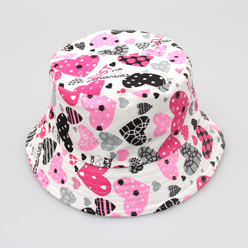 200pcs/lot Children girls sun hat boys summer bucket hat cartoon design printed cute kids cap outdoor hiking boonie hat bob
