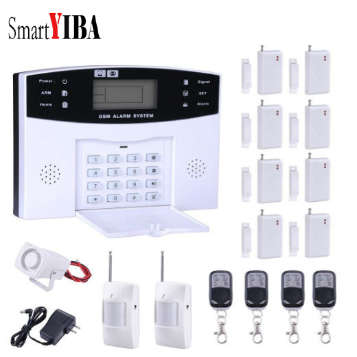 SmartYIBA GSM SMS Home Burglar Alarm System House Office Security Alarm Kits With Siren Alert PIR Motion Alarm Door Alarm yobang security 30a home security wireless alarm system gsm home burglar alarm kits new version pir infrared gsm sms alarm