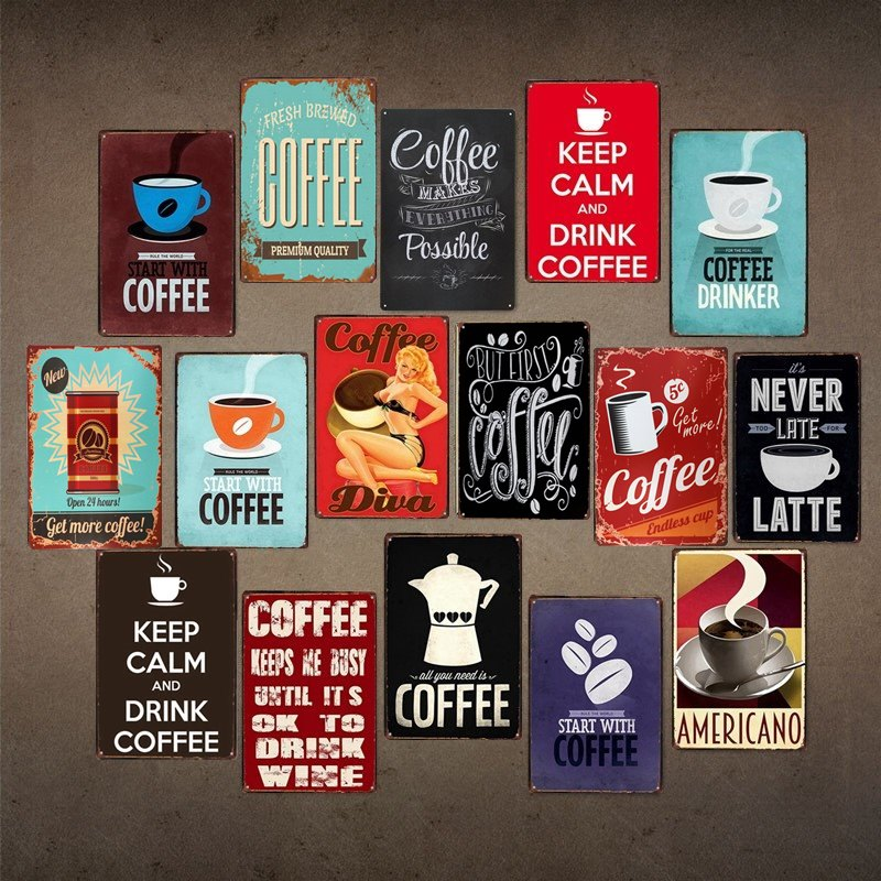Metal Tin Sign latte coffee Bar Pub Vintage Retro Poster Cafe ART