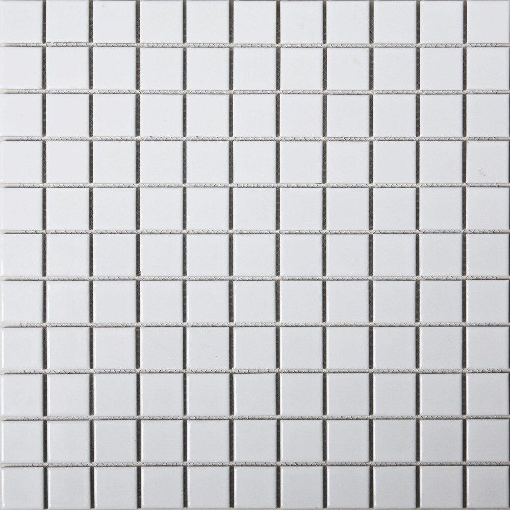 White glazed ceramic mosaic puzzle backdrop matte surface kitchen ...